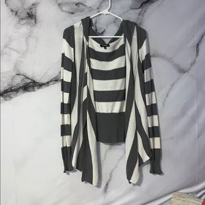 Gray and White stripped cardigan